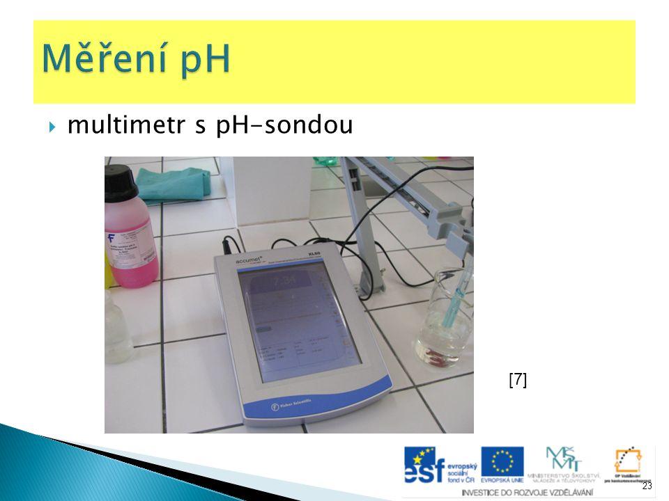 Měření pH multimetr s pH-sondou [7]
